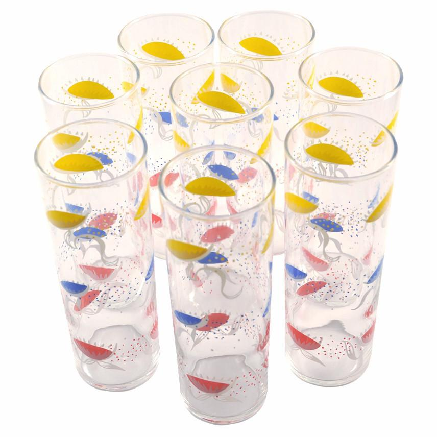 Abstract Flower Collins Glasses, The Hour Shop Vintage
