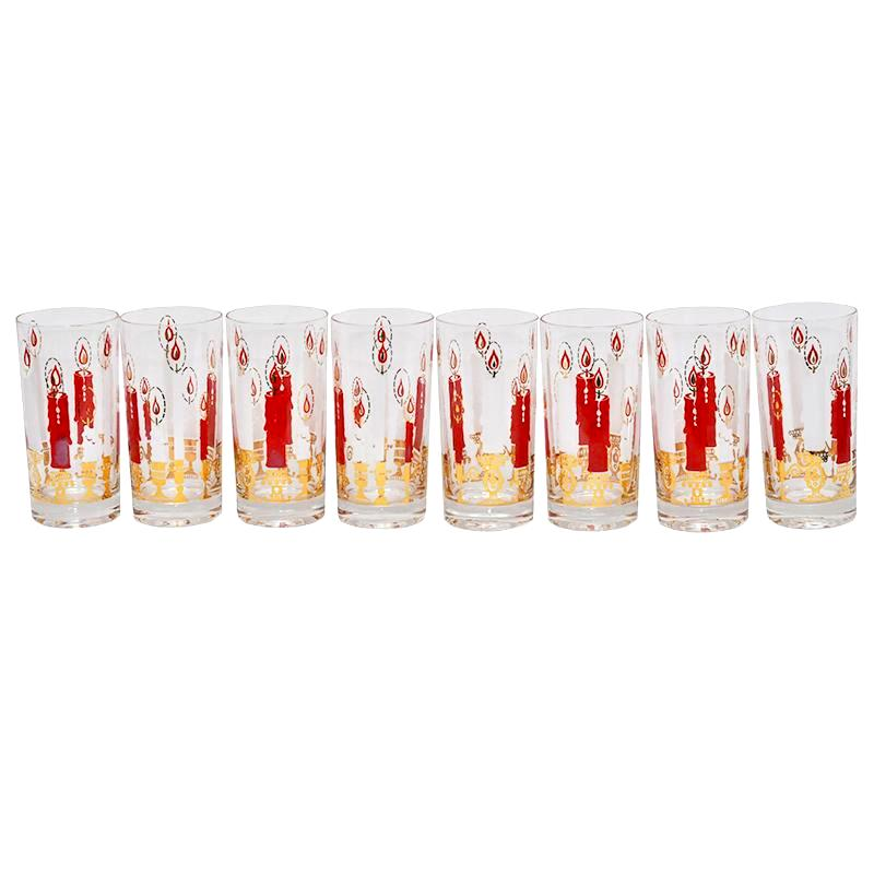 Christmas Candle Collins Glasses | The Hour Shop Vintage