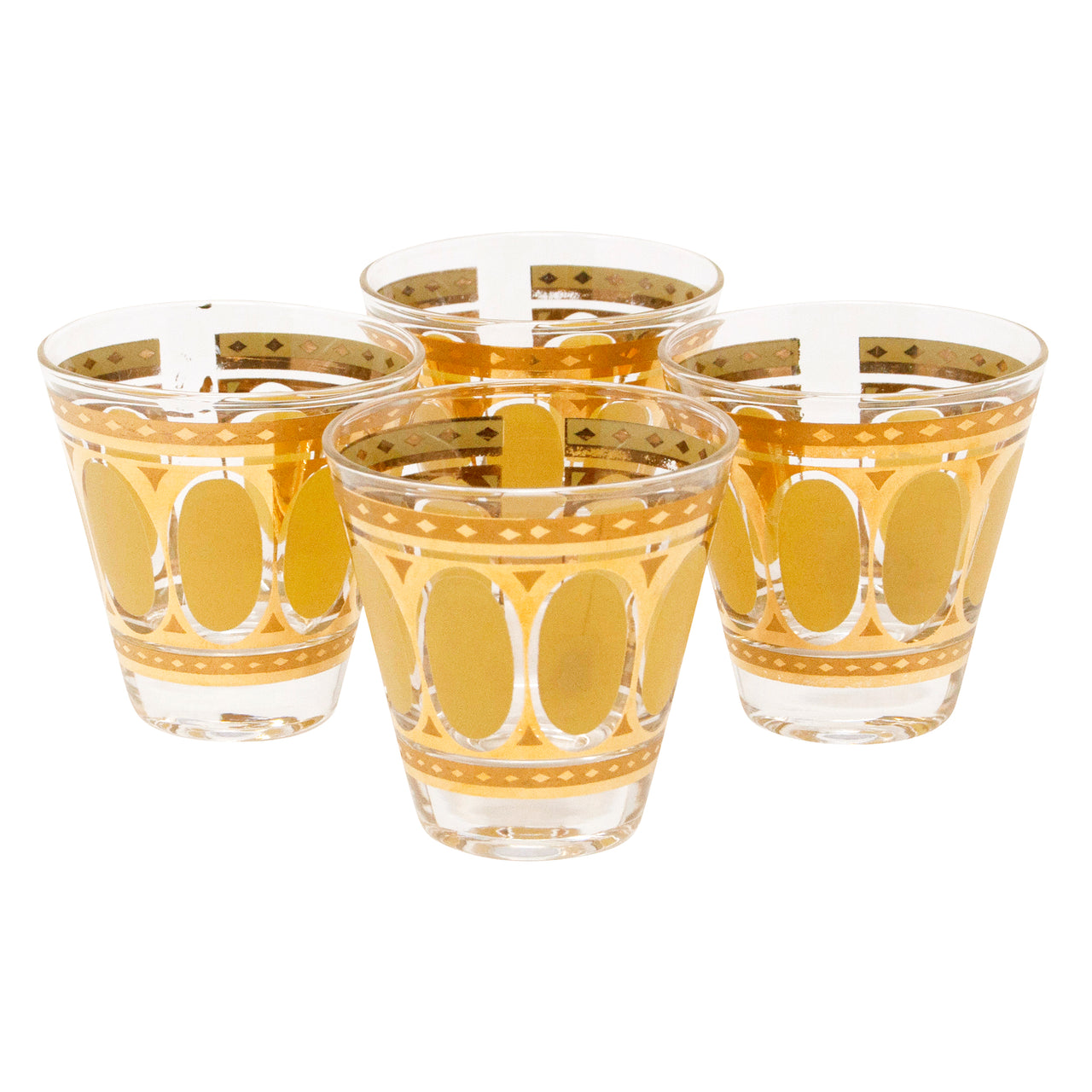 Fred Press Mustard and Gold Oval Single Old Fashioned Glasses