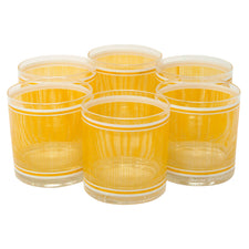 Vintage Georges Briard Yellow and White Pinstripes Rocks Glasses | The Hour Shop