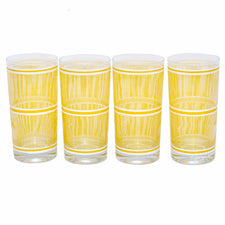 Georges Briard Yellow Striped Collins Glasses, The Hour Shop Vintage Cocktail Glasses
