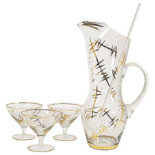 Vintage Art Deco Pitcher & Coupe Glass Set, The Hour