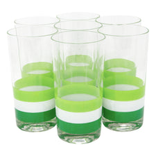 Georges Briard Green & White Striped Collins Glasses