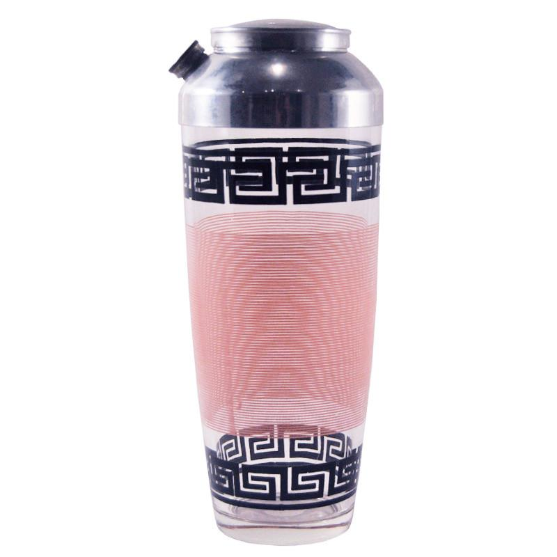 Pink & Black Greek Key Shaker