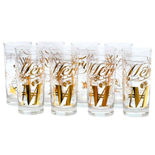 Gold Merry Christmas Collins Glasses | The Hour Shop Vintage