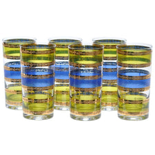 Culver Green, Blue & Gold Band Collins Glasses, The Hour Shop