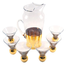 Vintage Gold Base Cocktail Pitcher Glass Set, The Hour Shop