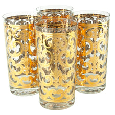 Vintage Georges Briard Gold Filigree Collins Glasses | The Hour