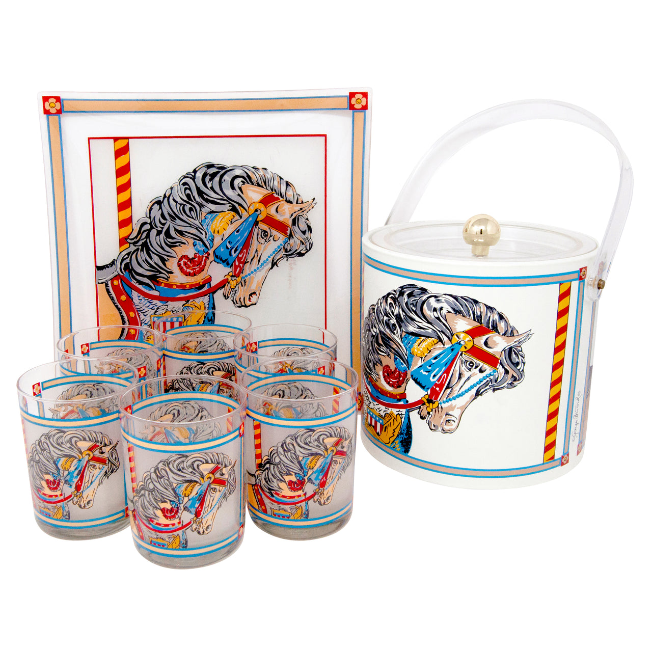 Vintage Georges Briard Carousel Horse Cocktail Set | The Hour Shop