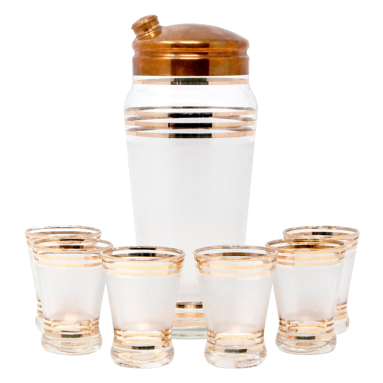 Vintage Gold Band Frosted Cocktail Shaker Set Front  | The Hour Shop