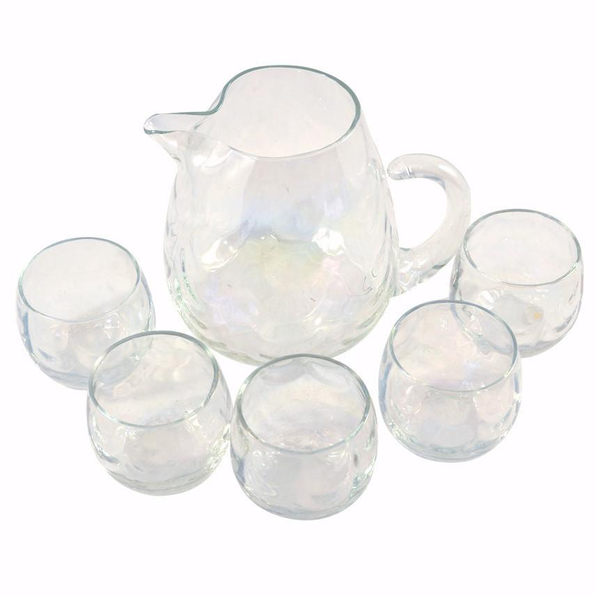 Vintage Iridescent Cocktail Pitcher & Glasses Set, TheHourShop.com