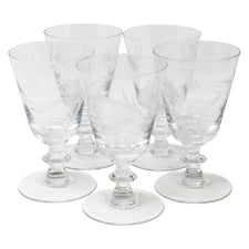 Vintage Etched Leaves Crystal Cocktail Stems | The Hour Shop