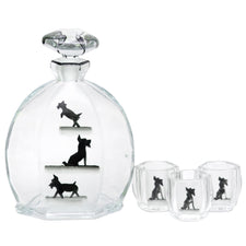 Vintage Glass Black Scottie Dog Decanter Set, The Hour