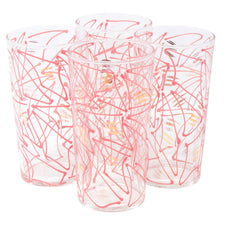Federal Glass Pink & Gold Dashes Tumblers