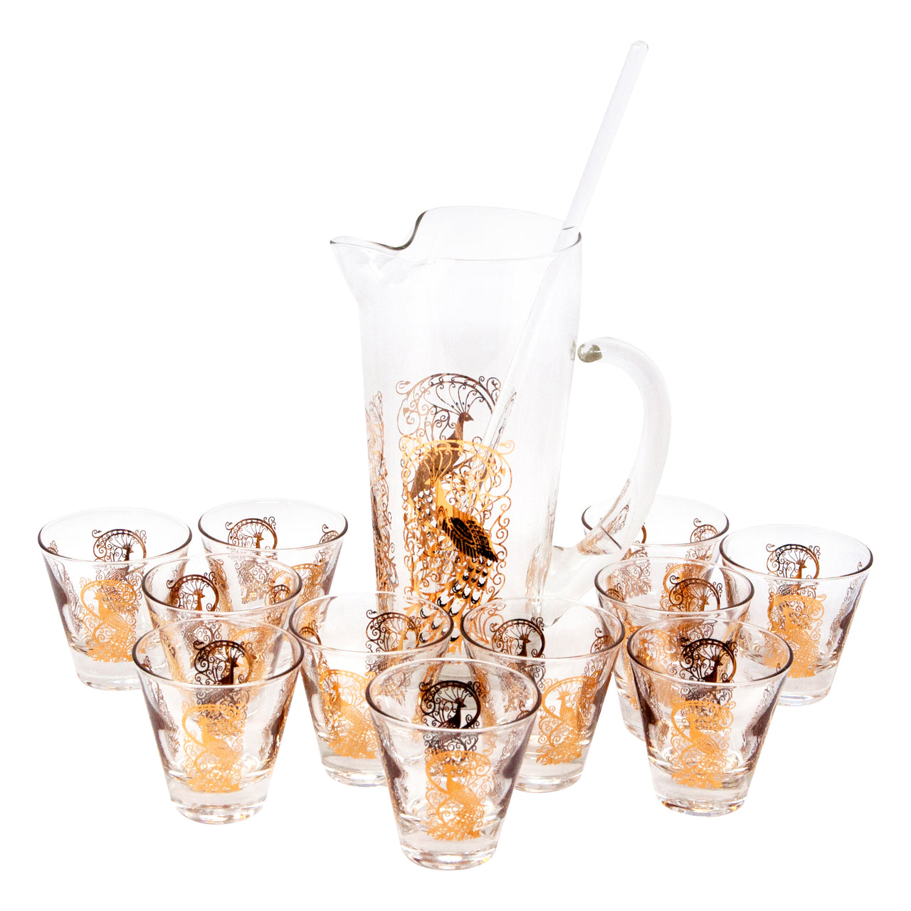 Vintage Gold Peacock Cocktail Pitcher Set | The Hour Shop
