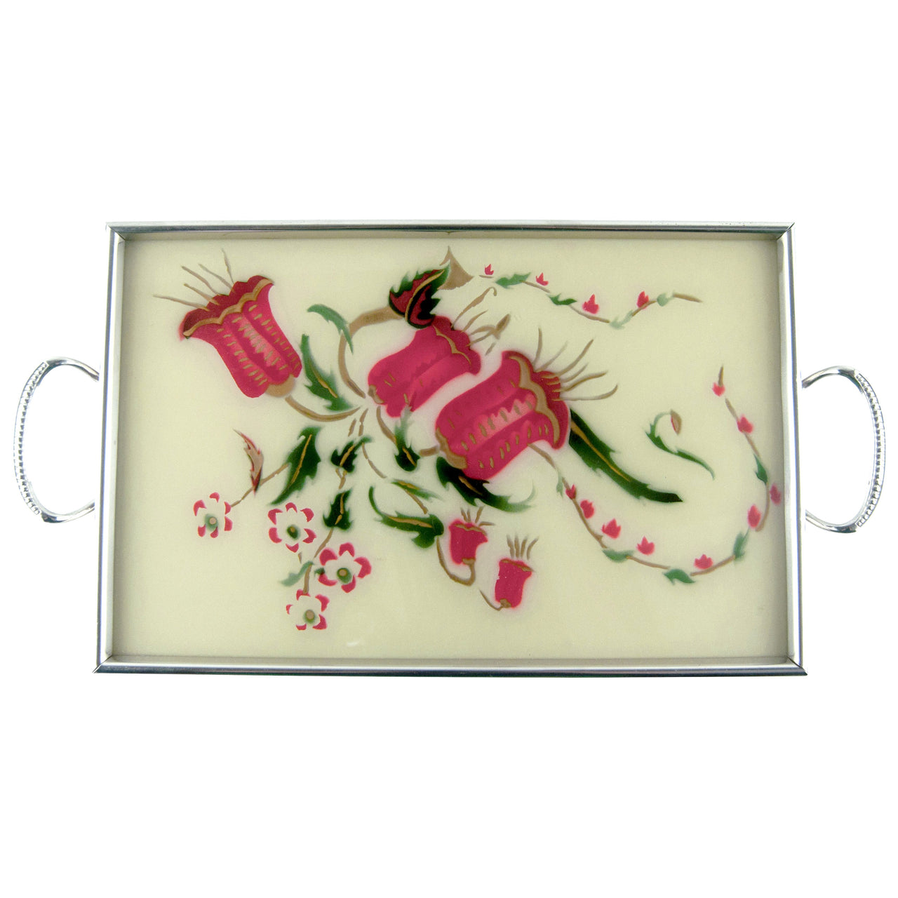 Vintage Reverse Painted Glass Red Flower Tray | The Hour