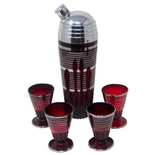 Vintage Art Deco Ruby Red & Silver Rings Cocktail Shaker Set | The Hour