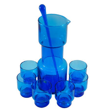 The Hour Shop, Vintage Italian Blue Glass Cocktail Pitcher Set