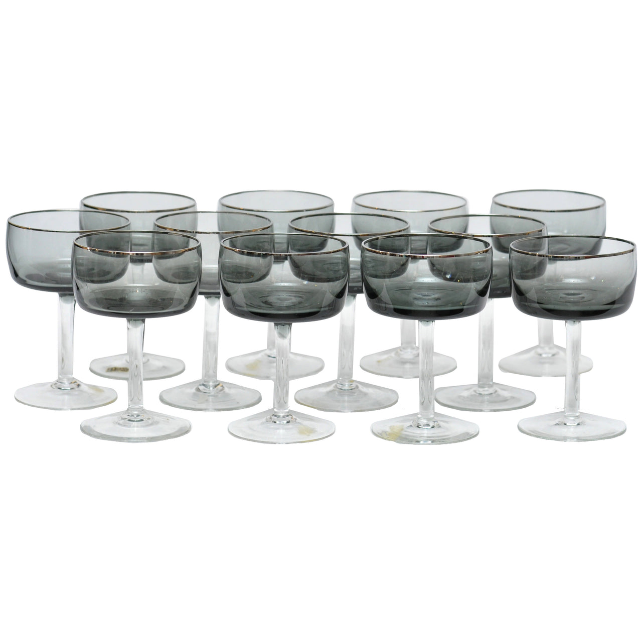 Silver Rim Smoke Coupe Glasses | The Hour Shop Vintage