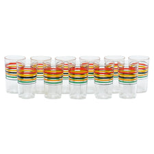 Hand Painted Multi Color Stripe Cocktail Glasses | The Hour Vintage