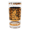 Georges Briard Gold and Black Flower Collins Glass | The Hour Shop
