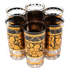 Georges Briard Gold and Black Flower Collins Glasses Top | The Hour Shop