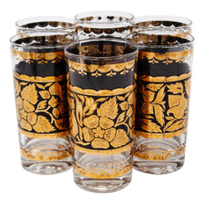 Georges Briard Gold and Black Flower Collins Glasses | The Hour Shop