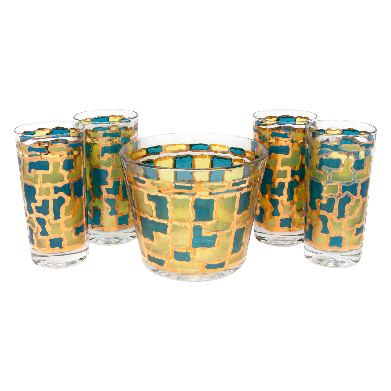 Vintage Multi Color Stained Glass Ice Bucket Cocktail Set | The Hour Shop