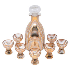 Art Deco Gold Ring Glass Decanter Set | The Hour Shop Vintage