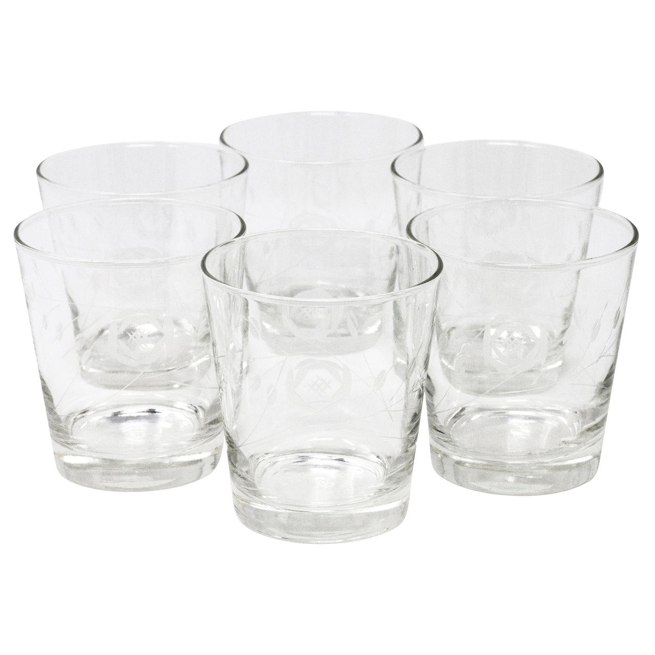 Vintage CG Quartex Etched Rose Rocks Glasses | The Hour