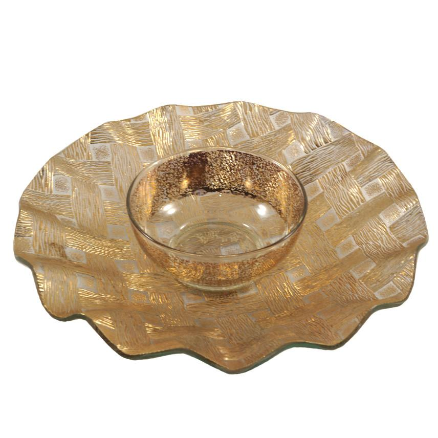 Gold Basketweave Chip & Dip Server, The Hour Shop