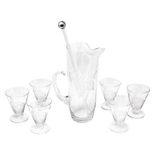 Vintage Dorothy Thorpe Etched Anthurium Leaves Cocktail Pitcher Set | The Hour Shop