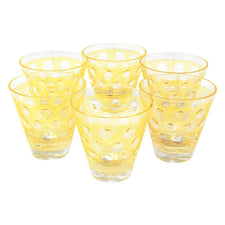 Vintage Yellow Stripes & Dots Single Old Fashioned Glasses | The Hour Shop