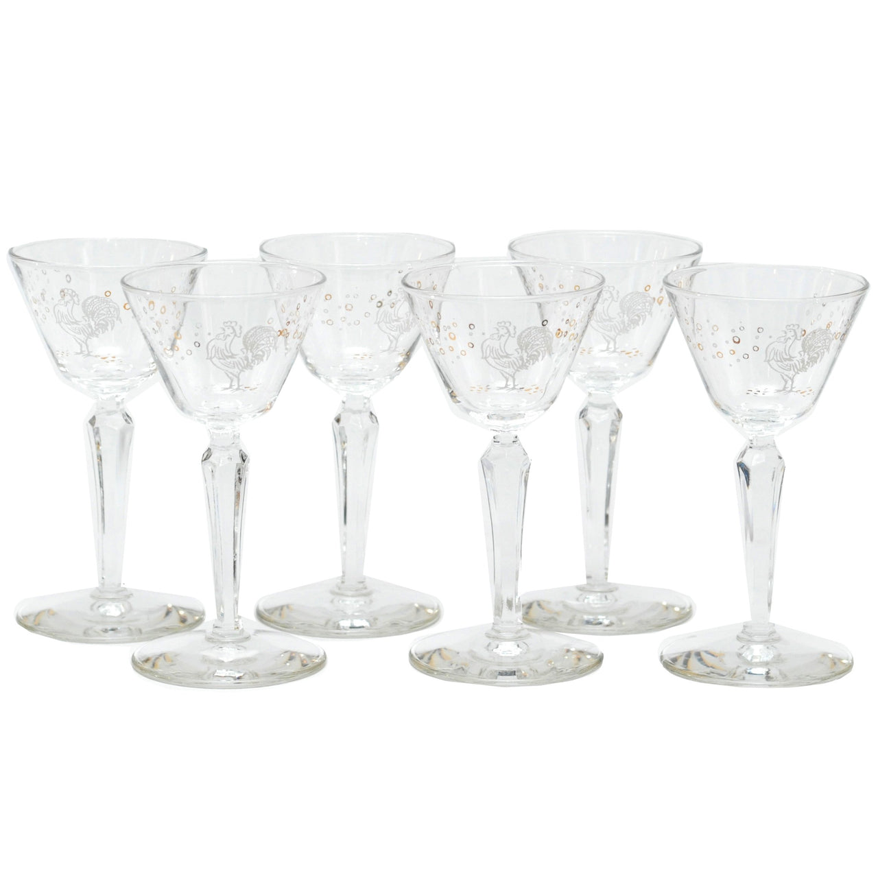 Vintage White Gold Rooster Cocktail Glasses, The Hour Shop
