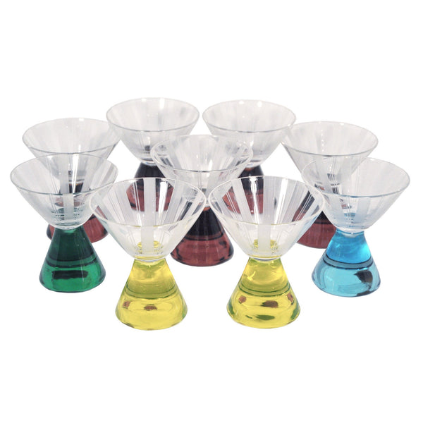 Vintage Multi-color Art Deco Cocktail Glasses, The Hour Shop