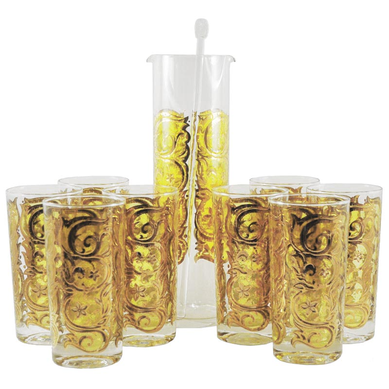 Vintage Yellow & Gold Cocktail Pitcher Set, The Hour Shop