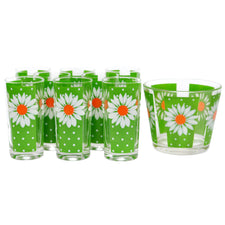 Pasinski White Daisy Ice Bucket Glass Set, The Hour Shop Vintage