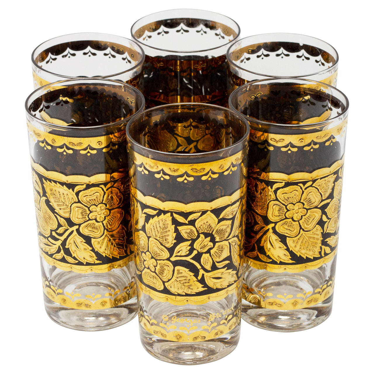 Vintage Georges Briard Gold & Black Floral Collins Glasses | The Hour Shop