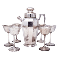 Vintage Apollo Silver Co. Hammered ESPN Cocktail Shaker Set Front | The Hour Shop