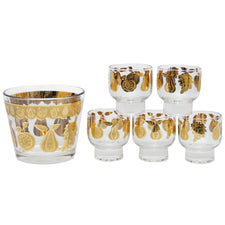 Vintage Culver Gold Florentine Glass Ice Bucket Set | The Hour