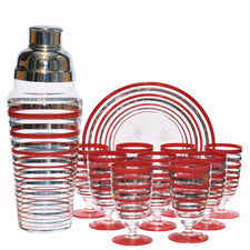 Vintage Red & Silver Stripe Cocktail Shaker Set, The Hour