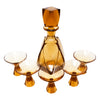Vintage Amber Czech Crystal Decanter Set Top | The Hour Shop