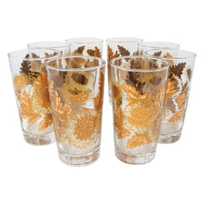 Vintage Gold Chrysanthemum Collins Glasses | The Hour Shop