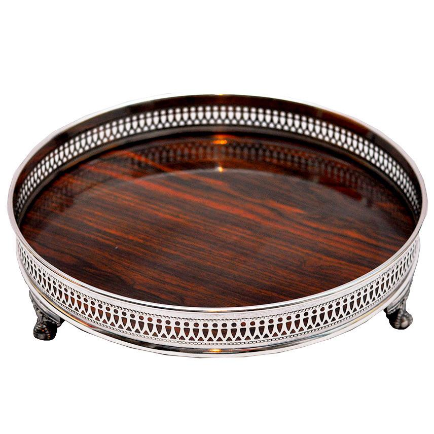 Brown Circular Claw Foot Tray   The Hour Shop