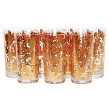 Culver Golden Foliage Collins Glasses