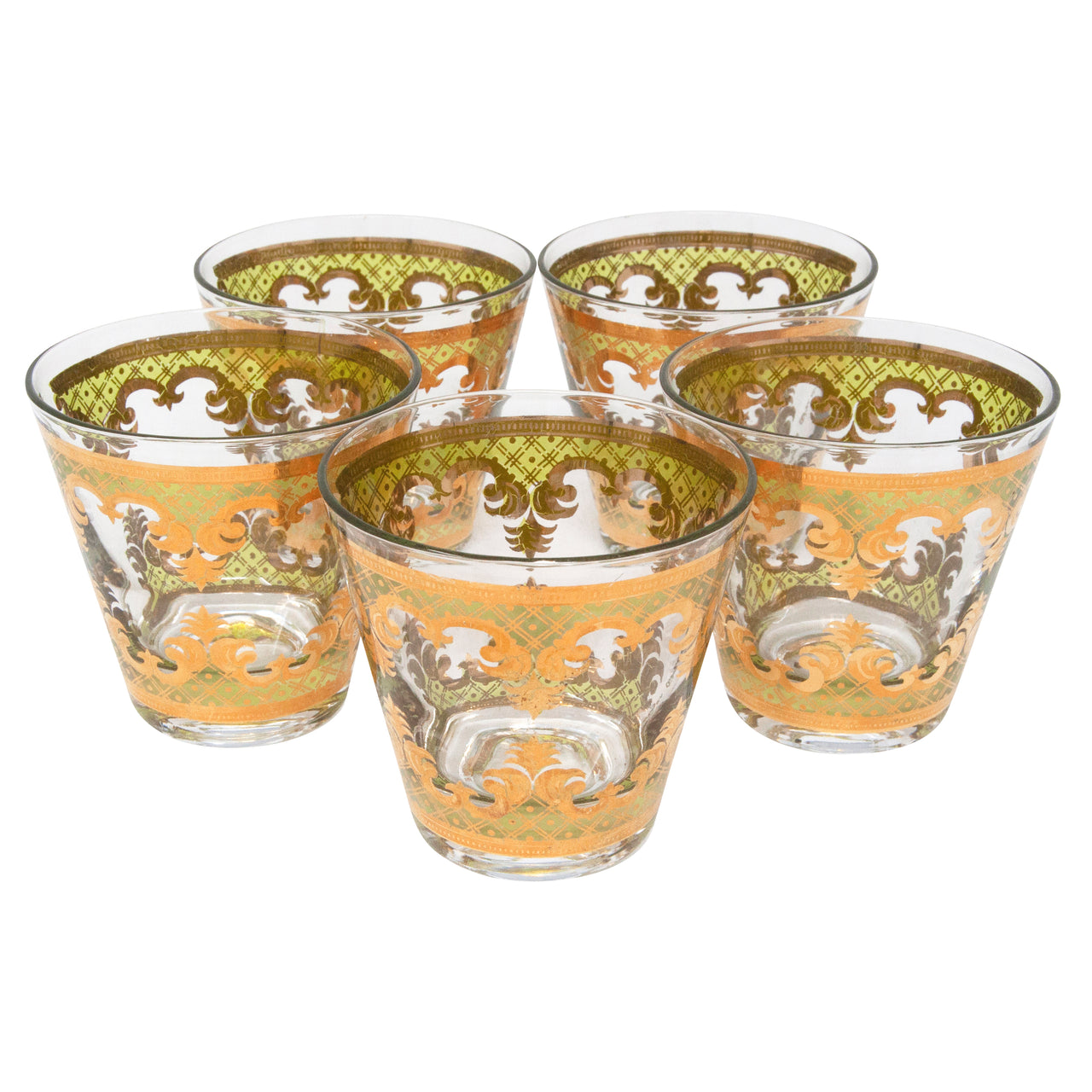 Vintage Georges Briard Carrara Gold & Green Old Fashioned Glasses | The Hour Shop
