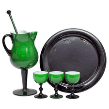 Carlo Moretti Green & Black Cocktail Pitcher Set, The Hour Shop Vintage Barware Glassware Cocktail Glasses Pitcher Tray