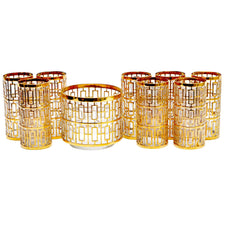 Imperial Glass Shoji Gold Set, The Hour Shop Vintage Barware