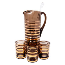 Vintage Art Deco Gold & Platinum Bands Cocktail Pitcher Set | The Hour Shop