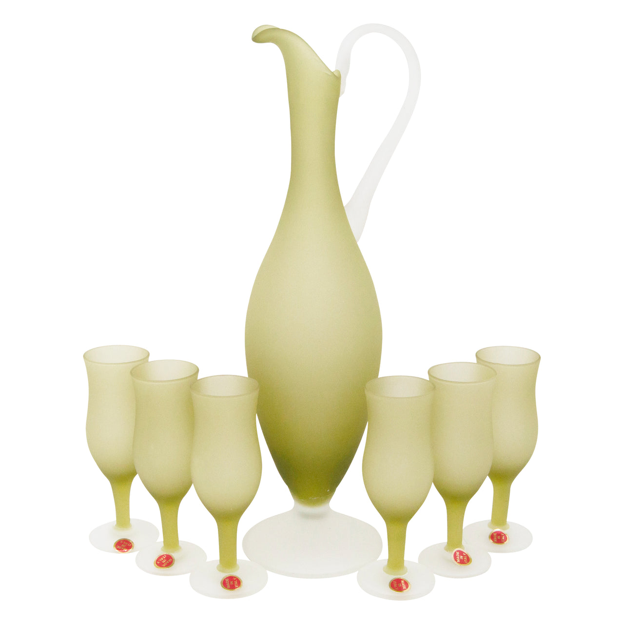Vintage Italian Frosted Olive Green Cocktail Pitcher Set | The Hour Shop
